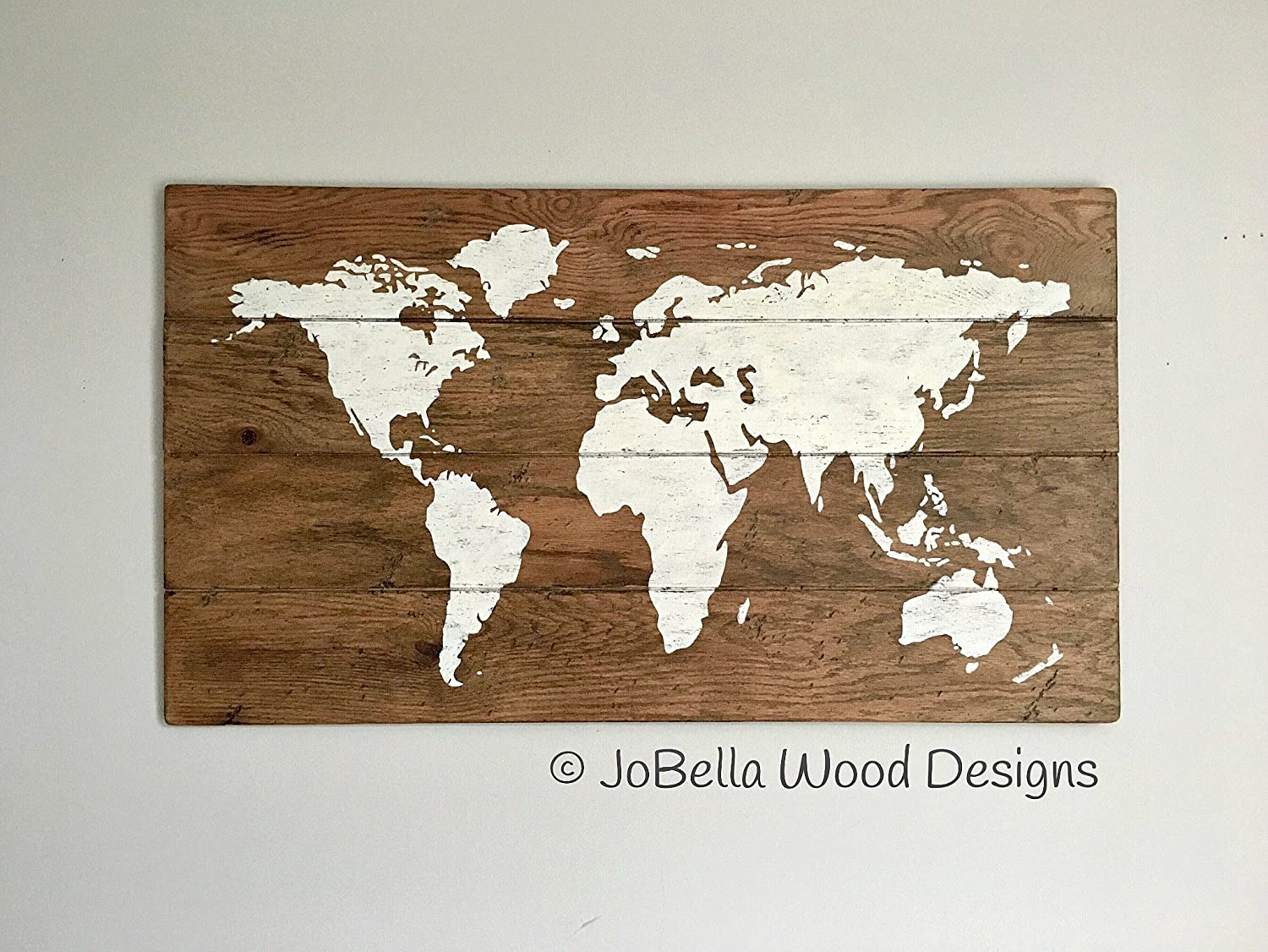 fd30e613a052 Amazon.com  World Map Distressed Wood Painting (White)- Farmhouse ...
