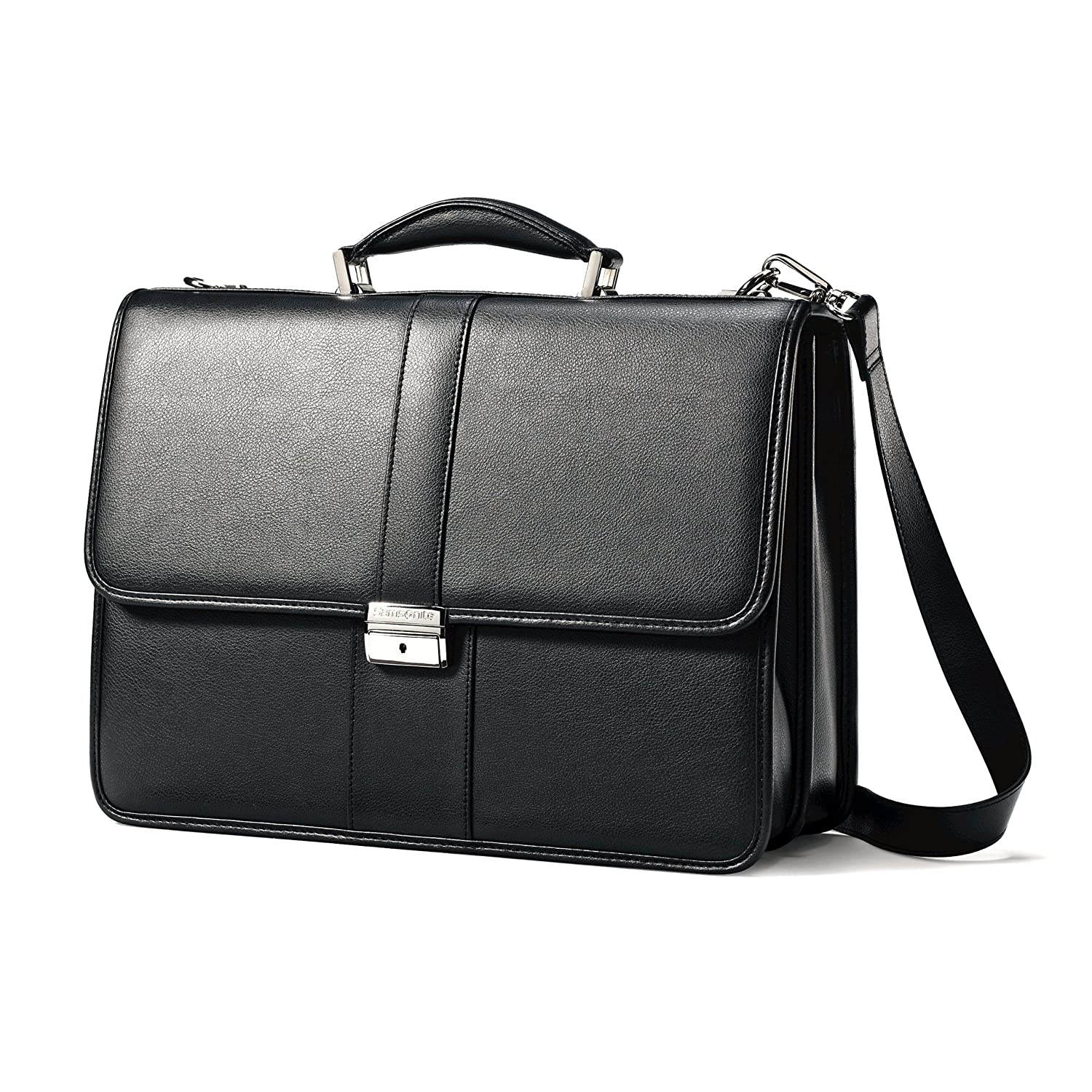 Samsonite Leather Flapover Case, Black