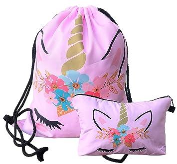 Unicorn Drawstring Backpack Makeup Bag Set - Unicorn Gifts for Girls (Pink) 7332ce7f50676