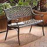 Rustproof Aluminum Outdoor Park Bench, Antique Copper