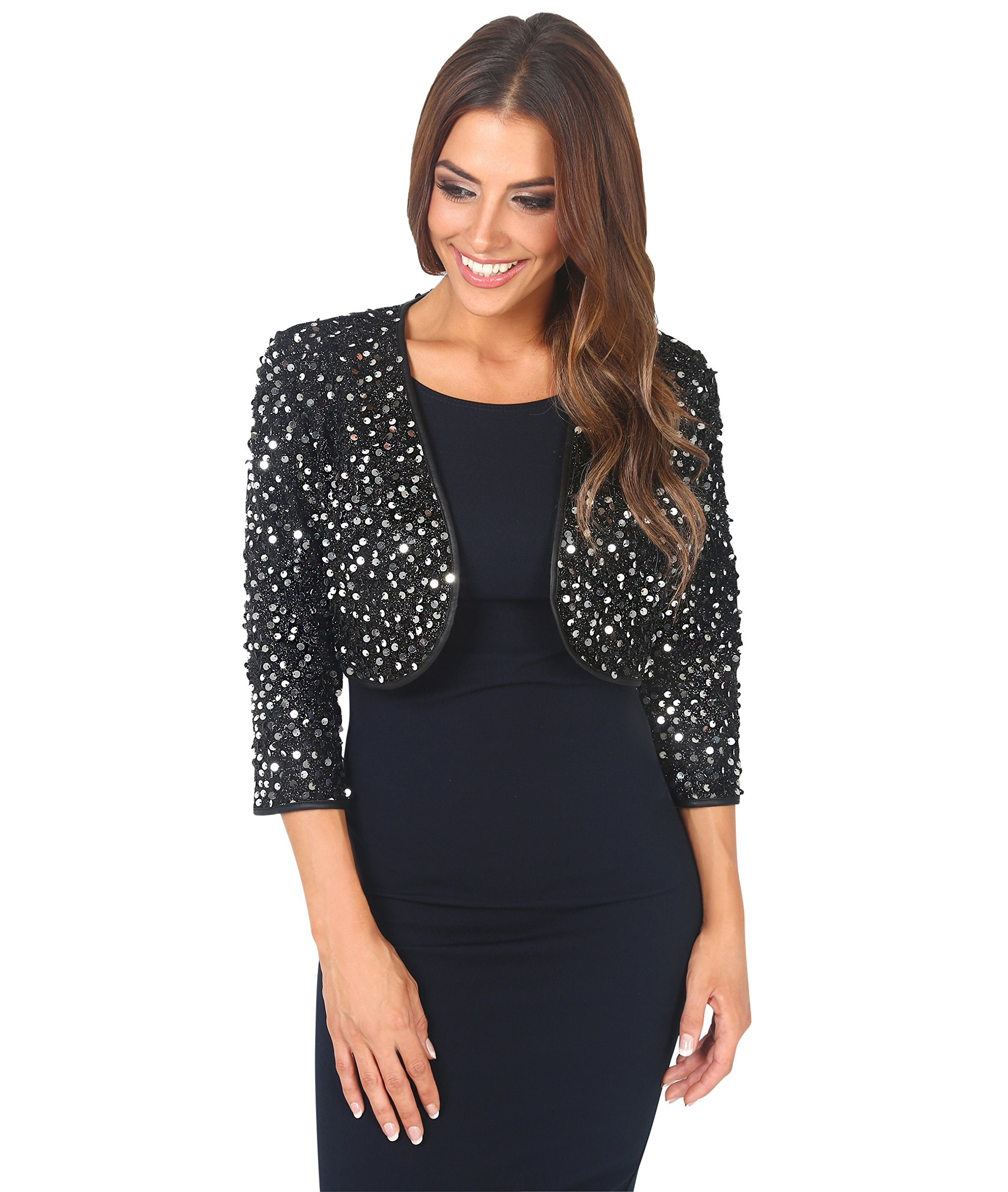 KRISP All Over Sequin Evening Shrug (Silver, XX-Large),[7363-SIL-XXL]