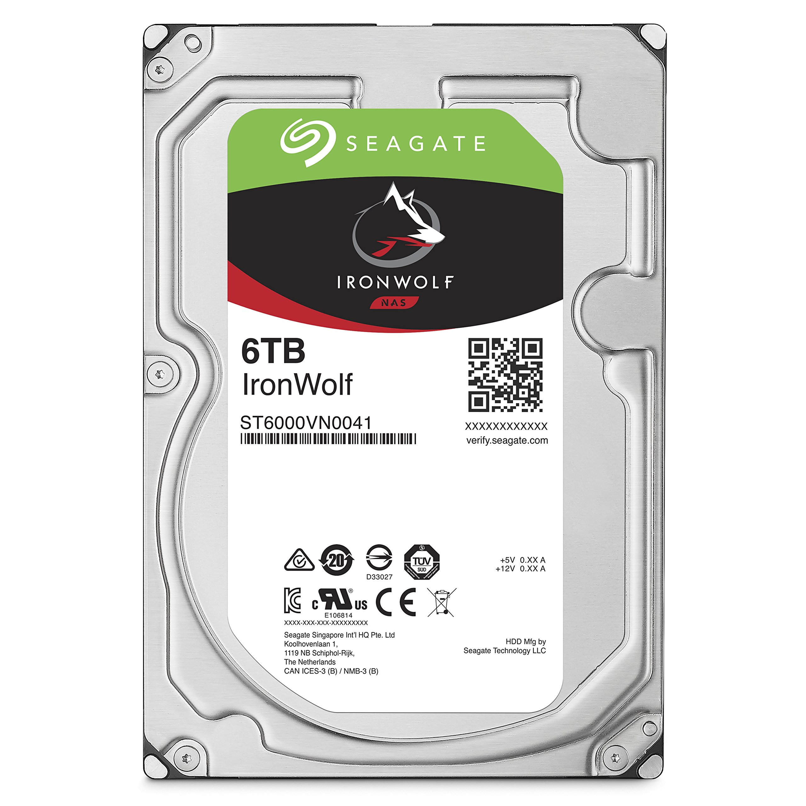 Seagate 6TB IronWolf NAS SATA 6Gb/s NCQ 128MB Cache 3.5-Inch Internal Hard Drive (ST6000VN0041) by Seagate (Image #1)