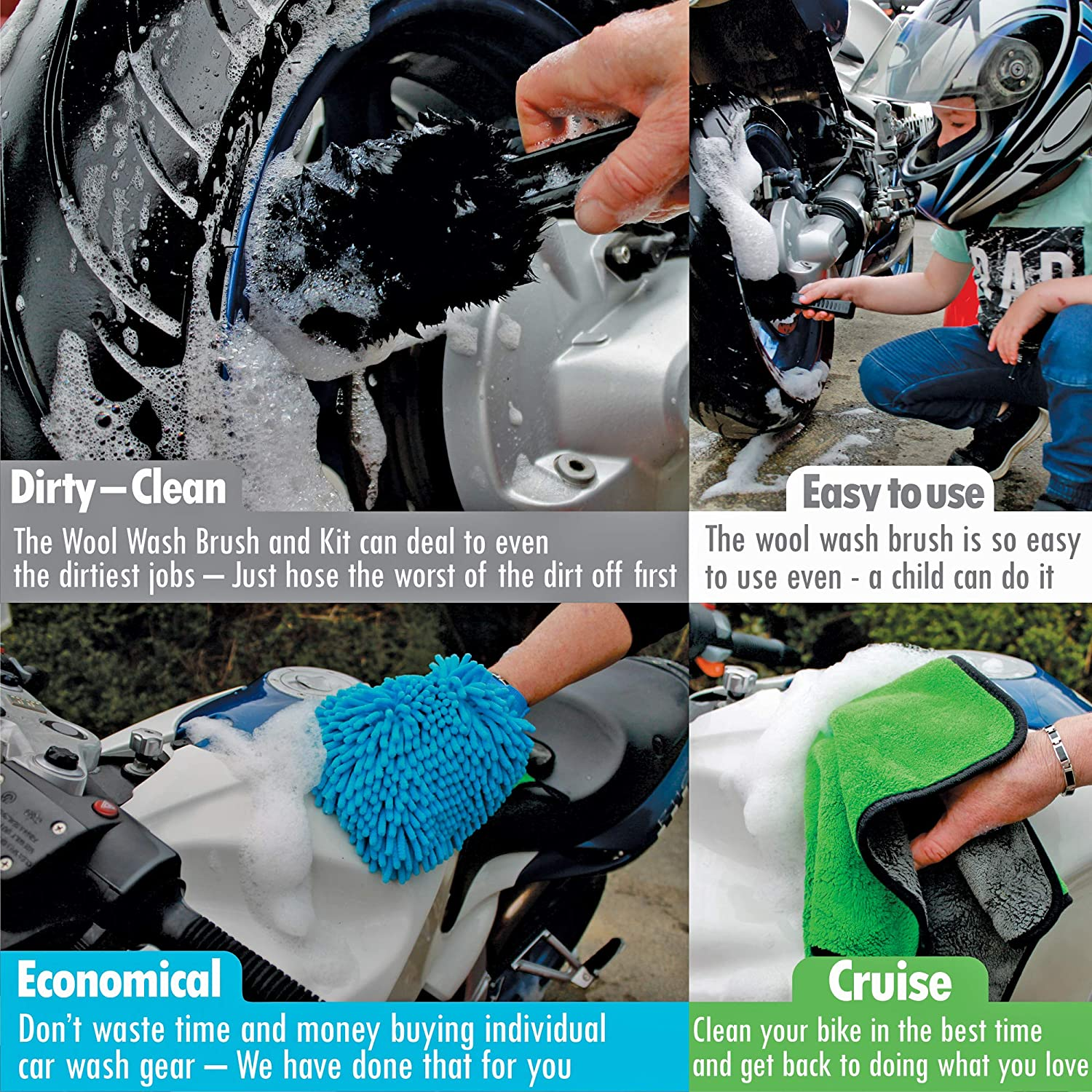 Truck /& Motorcycle Detailing Kit Perfect Car 3 Piece Pack with Wool Wash Brush Onetrackme Motorcycle Detailing Brush Kit Chenille Wash Mitt Microfiber Wash Cloth Boat