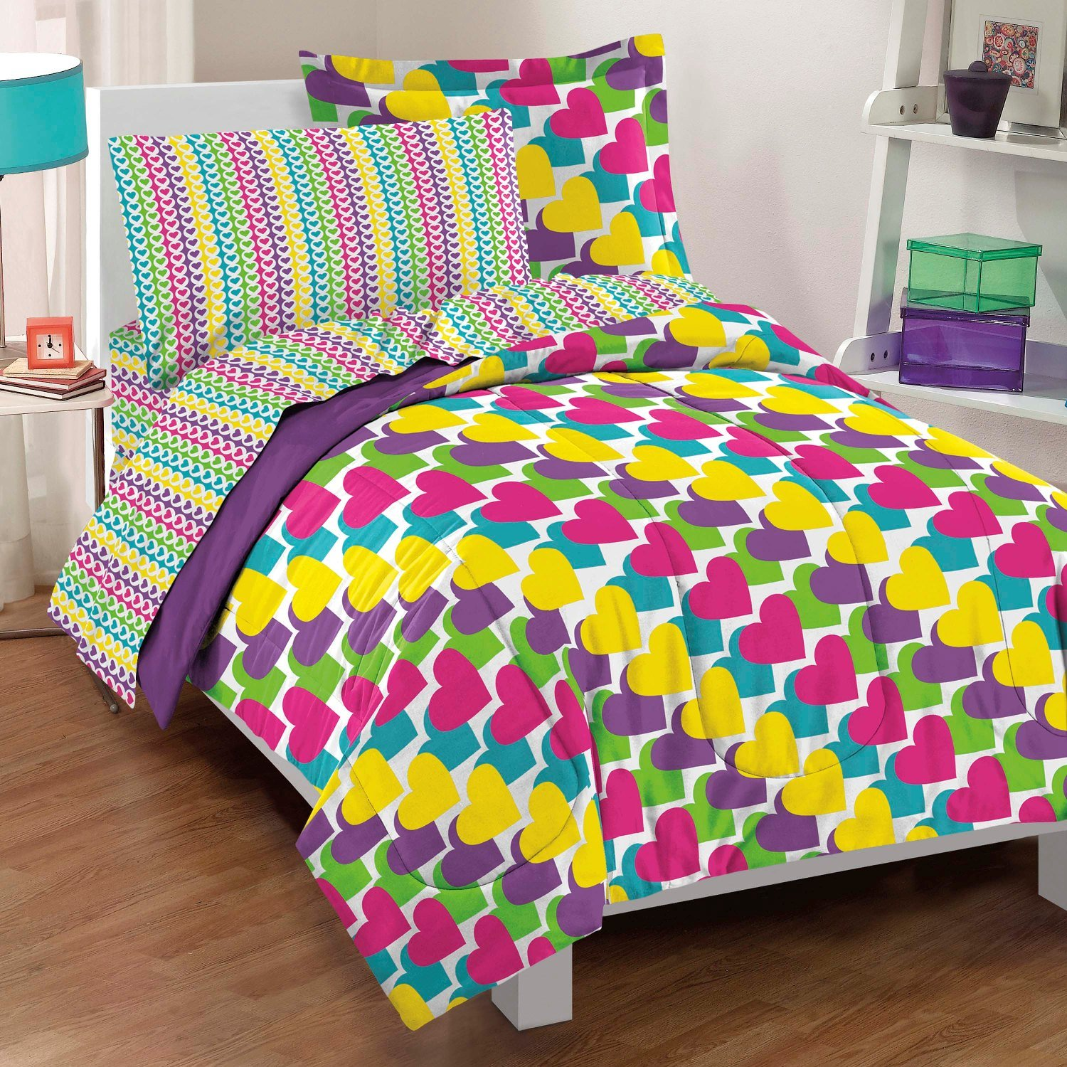 Dream Factory Casual Rainbow Hearts Comforter Set, Full, Multicolor