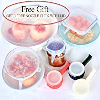 Silicone Stretch Lids - Reusable - Microwave, Dishwasher, Freezer Safe - 100% FDA Approved Silicone - BPA Free - Comes with Free Gift, 3 Nozzle Food Clips