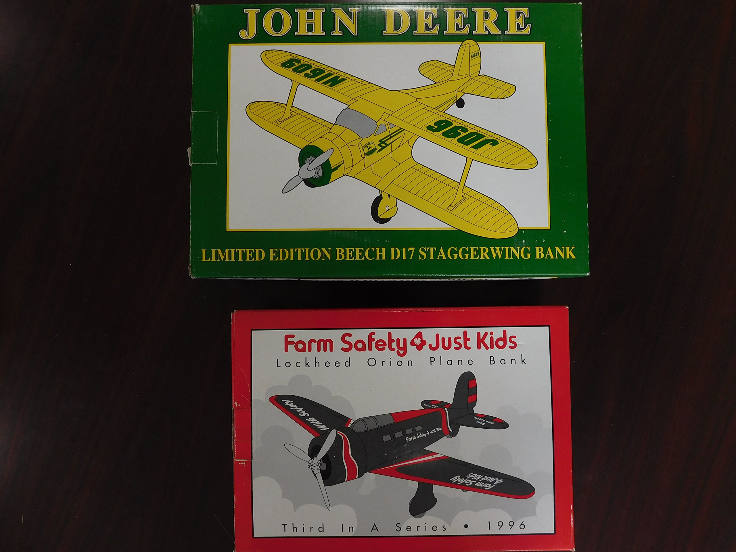 AIRPLANE BANK Set of 2- JOHN DEERE Limited Edition Beech D17 Staggerwing Bank & FARM SAFETY 4 JUST KIDS Lockheed Orion Plane Bank, 1996