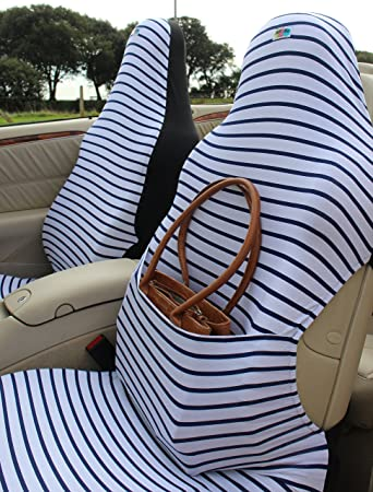 Car Seat CoversAirbag Friendly Pair Of White And Navy Breton Stripe
