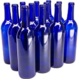 North Mountain Supply - W5-CB 750ml Glass Bordeaux Wine Bottle Flat-Bottomed Cork Finish - Case of 12 - Cobalt Blue