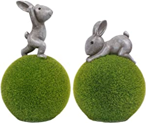 Valery Madelyn Yoga Bunny on Flocked Ball Garden Statues, Set of 2 Outdoor Resin Rabbits Figurines, Decorations for Spring Patio Lawn Yard Tabletop, 7.9-9.6 Inch