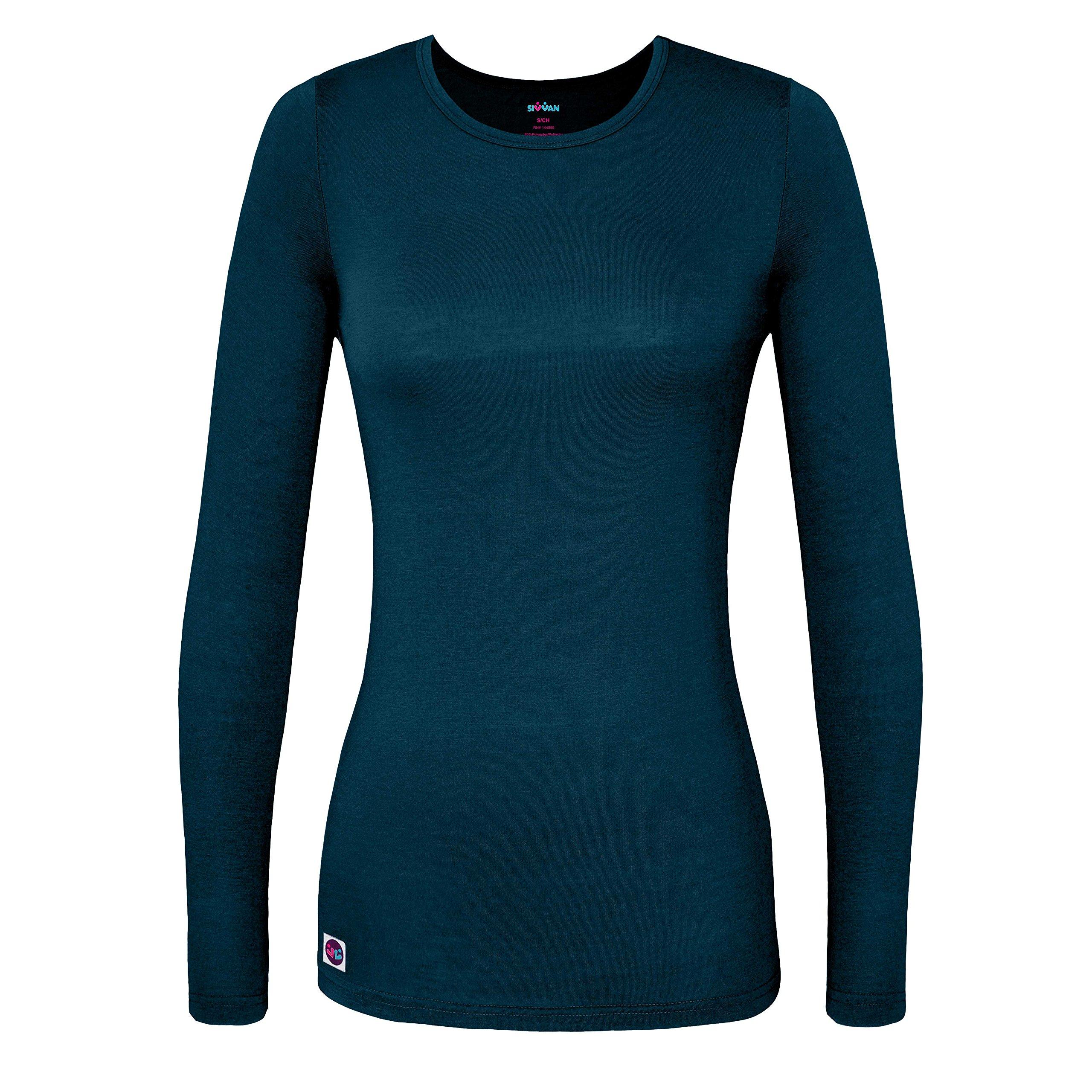 Sivvan Women's Comfort Long Sleeve T-Shirt / Underscrub Tee - S8500 - Caribbean Blue - S
