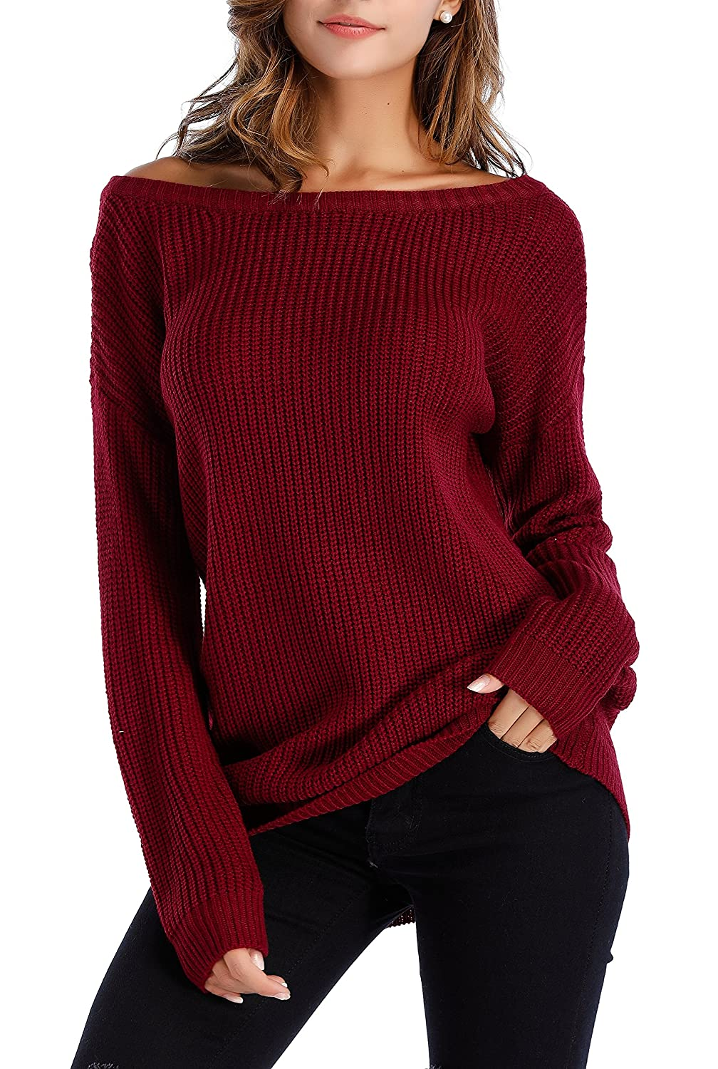 c22c0e8e5 Sarin Mathews Womens Sexy Off the Shoulder Slouchy Oversized Pullover  Sweaters. It is a pullover and very flattering