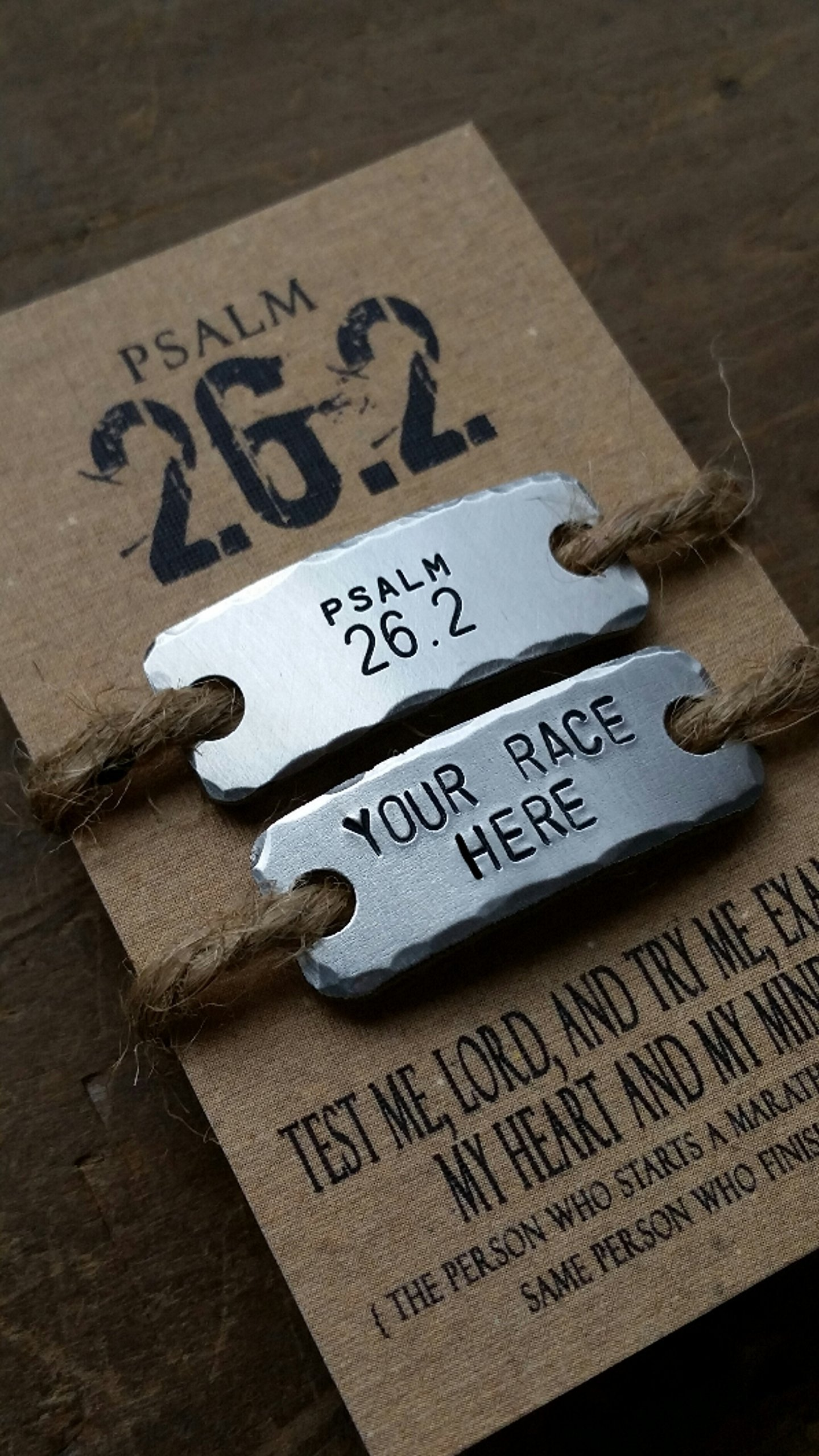 {SET OF TWO TAGS} Psalm 26.2 Marathon Inspiration Personalized shoe lace tag . fitness motivation . team sports jewelry . trainer tags . marathon gift
