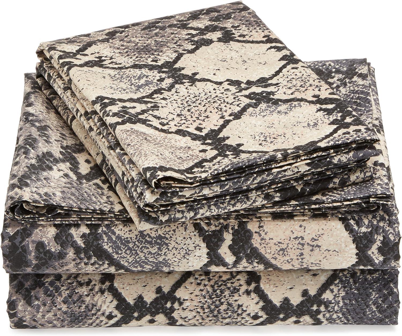 Twin Marwah Corporation TLKESP4PEDSSTW Tribeca Living 300 Thread Count Kenya Snake Printed Egyptian Cotton Deep Pocket Sheet