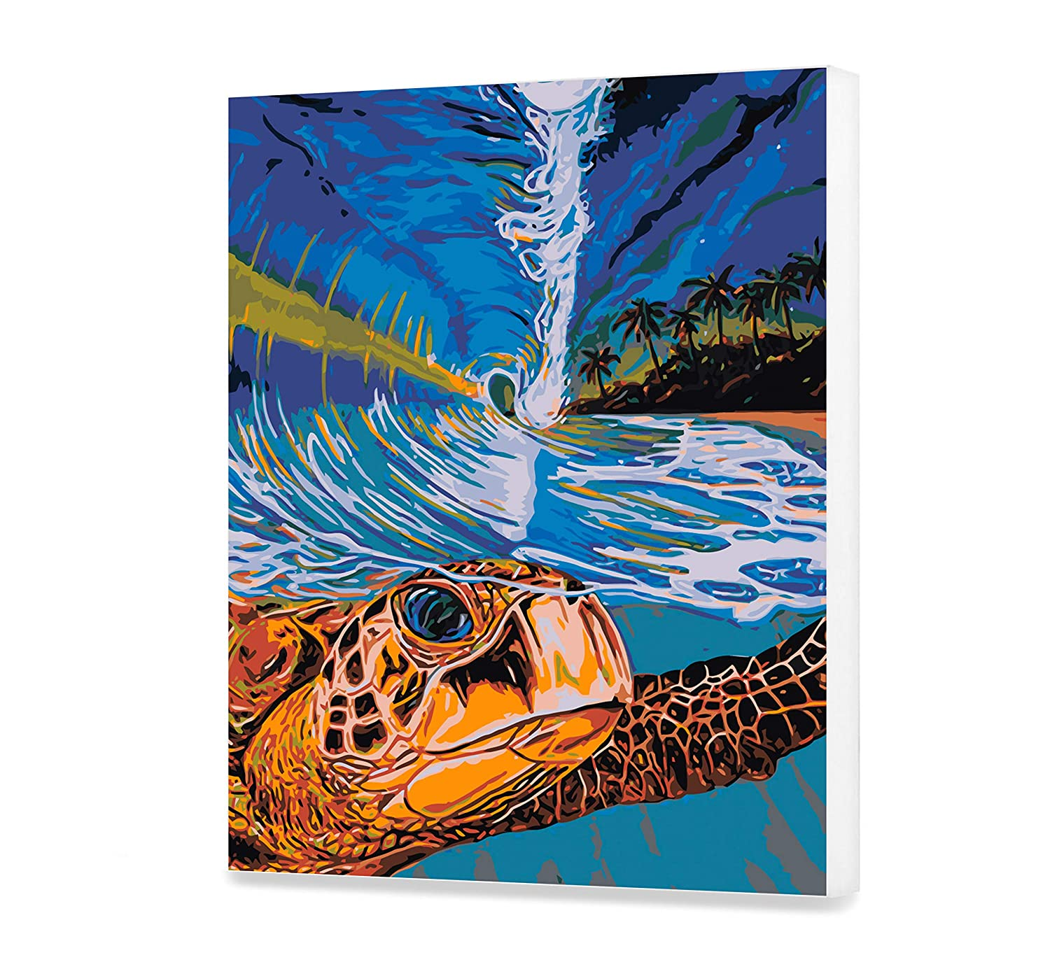 Turtle DIY Set Under Wave Painting By Numbers High-quality Picture With Frame Without Frame Best Gift for Painter Adult Sea Painting