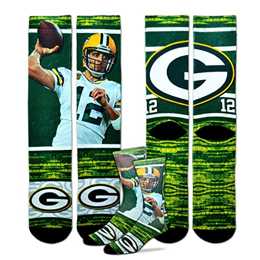 abc284e9 For Bare Feet Green Bay Packers Aaron Rodgers NFL Drive Socks, Large