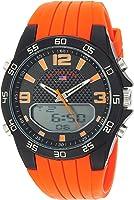 U.S. Polo Assn. Men's Quartz Metal and Silicone Casual Watch, Color:Orange (Model: US9604)