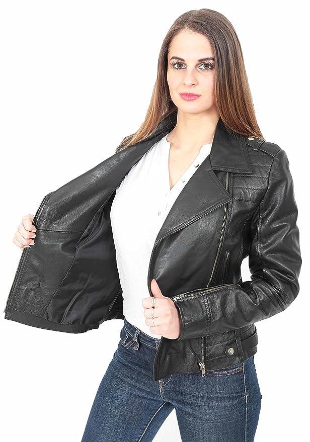Neueste Young Damen Fitted Leder Leder Biker X-Zip Mode Jacke Beverly  Schwarz  Amazon.de  Bekleidung ff5d71665d