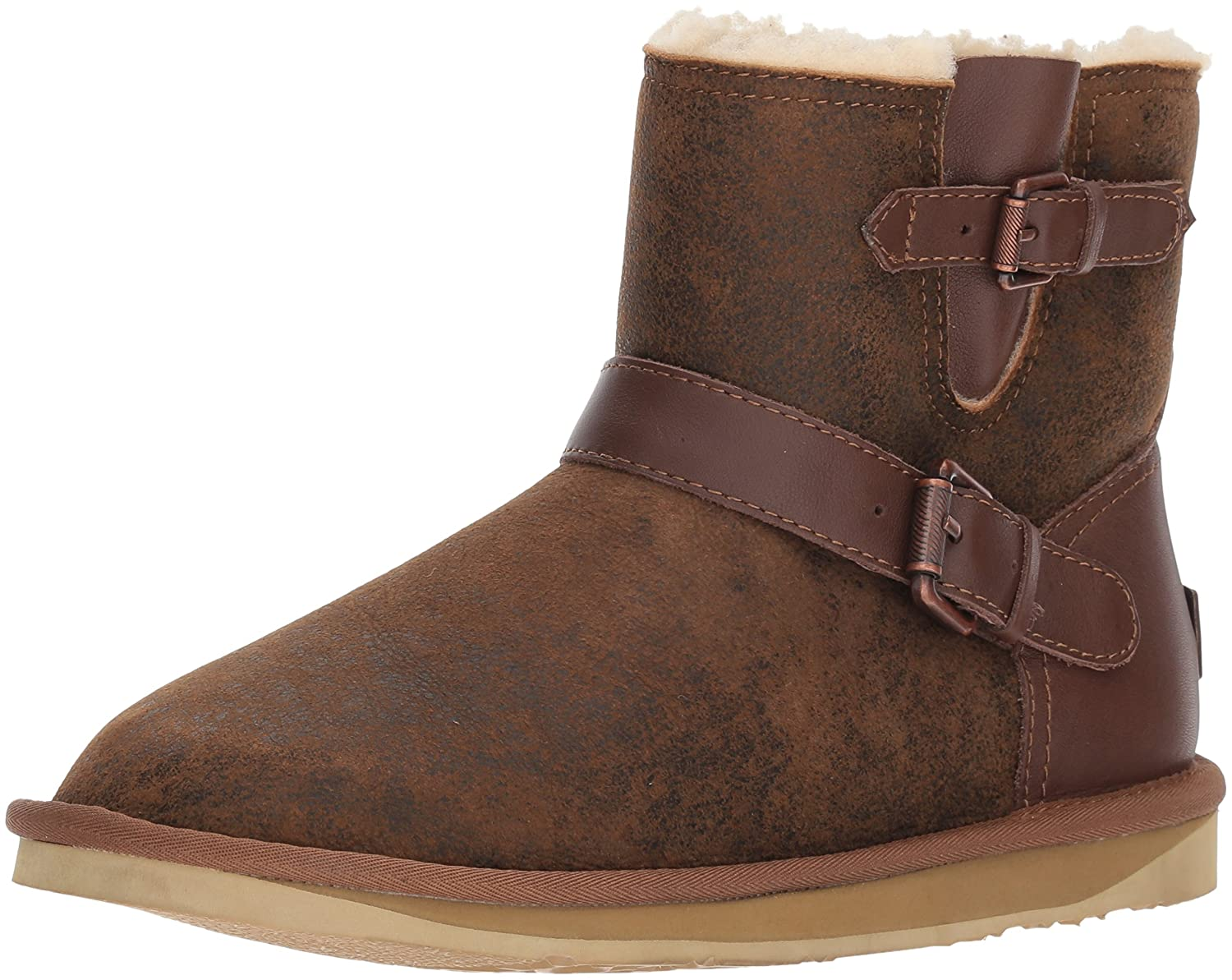 Luxe Co....... Womens Machina X Short Sheep Skin Round Toe Ankle Cold Weather Boots B075FXYC9L 7 Standard US Width US|Aviator