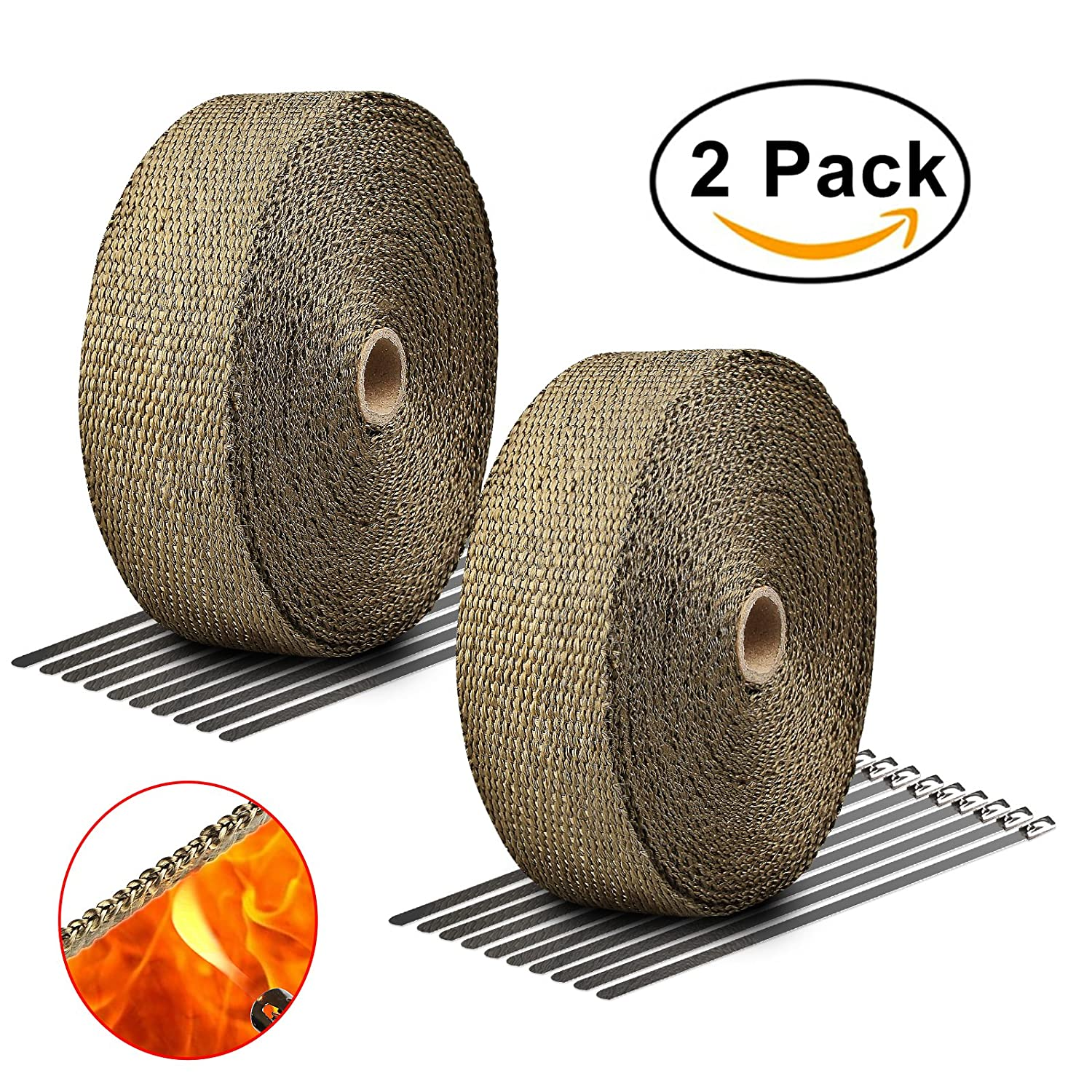 "Exhaust Wrap Titanium LIBERRWAY 2""x50Ft Heat Wrap Tap Header Glassfiber for Car Motorcycle + 10 Stainless Ties 2 Pack"