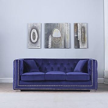 Modern Tufted Velvet Fabric Sofa With Nailhead Trim (Navy)