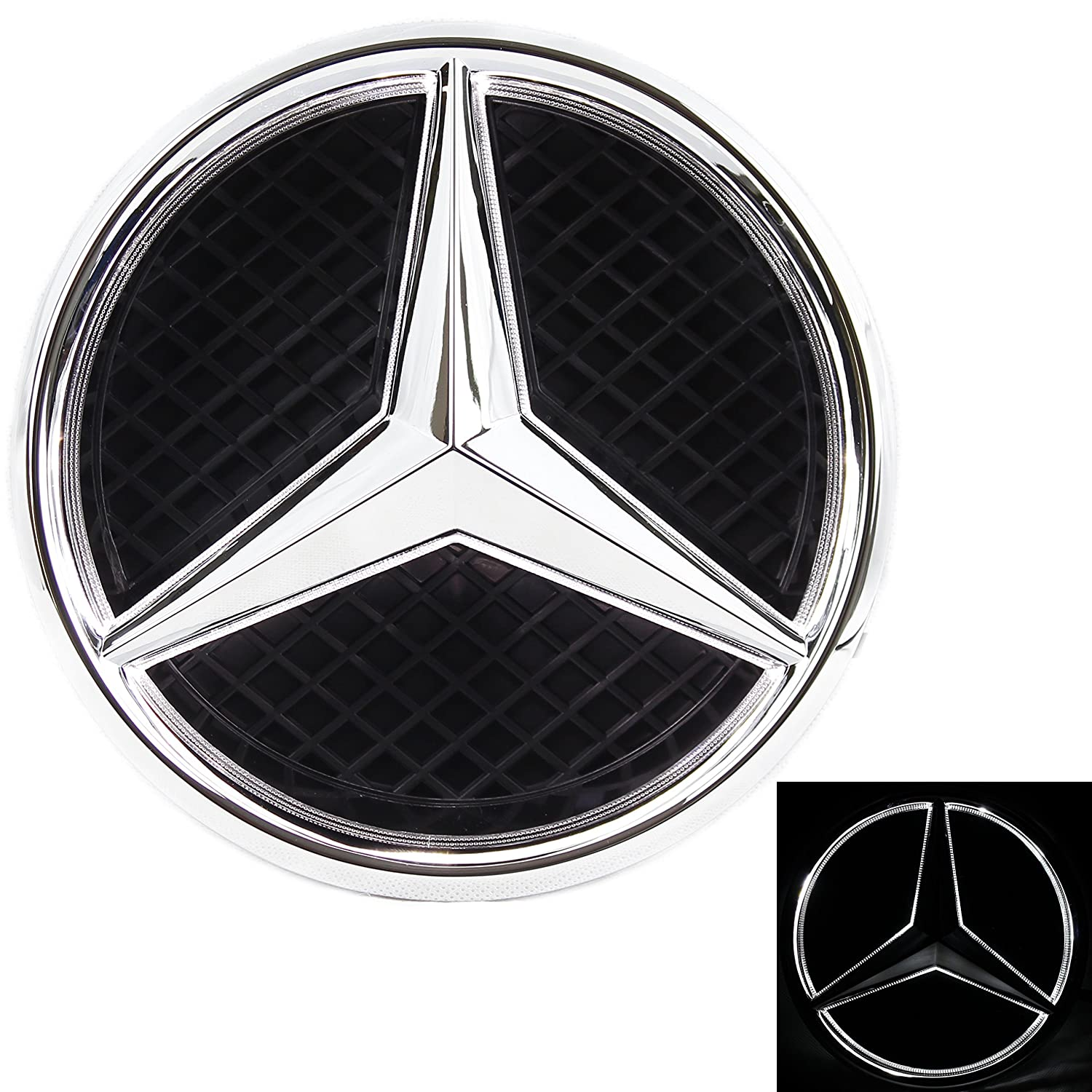Jetstyle Led Emblem For Mercedes Benz 2011 2018 Front Auxiliary Fuse Box Diagram Ml500 Car Grille Badge Illuminated Logo Hood Star Drl White Light Drive Brighter