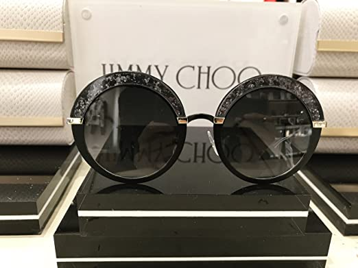 ff1e1977ce5 Jimmy Choo Black Gold and Glitter Round Framed Sunglasses Gotha  Amazon.ca   Luggage   Bags