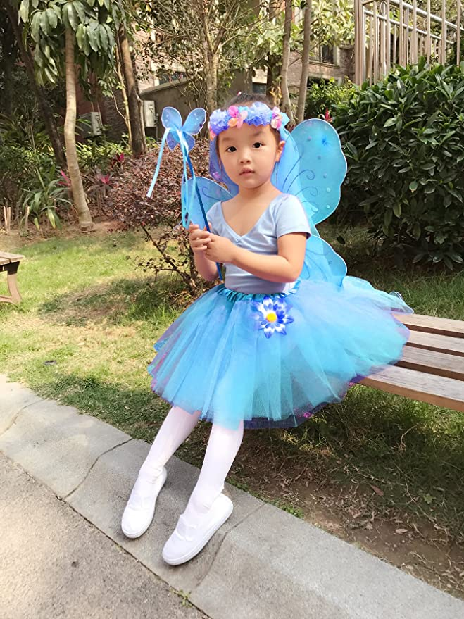 Girls Kids Fairy Dress Costume Cosplay  Blue Heaven Fairy Large