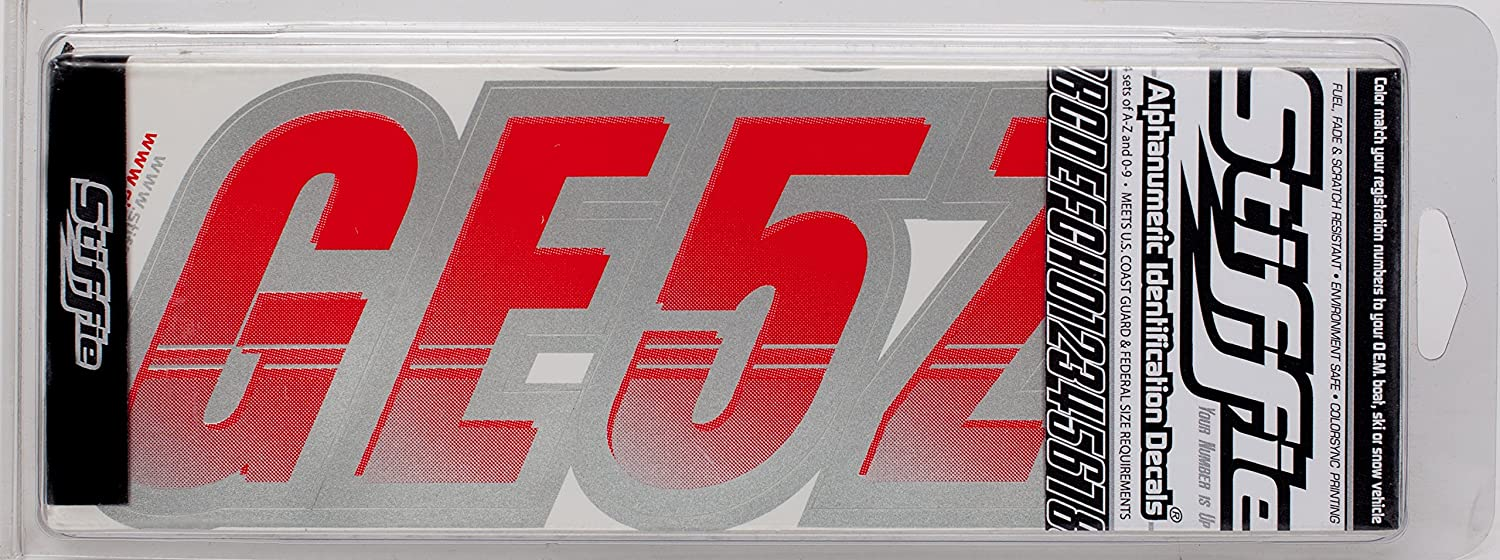 Stiffie Techtron Red//Silver 3 Alpha-Numeric Registration Identification Numbers Stickers Decals for Boats /& Personal Watercraft