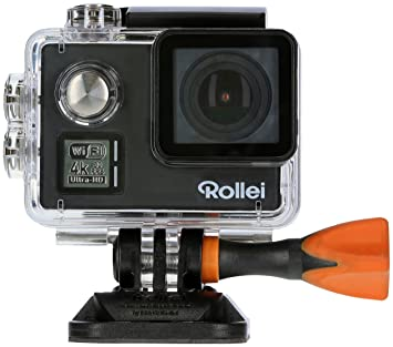 Rollei Actioncam 530 - Potente Videocámara de Acción con Wi-Fi y Resolución de Vídeo 4k DE 30 FPS, Incl. Carcasa Protectora subacuática - Negro