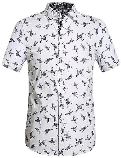 56ad94287def3 SSLR Men s Cotton Crane Button Down Short Sleeve Casual Shirt at ...