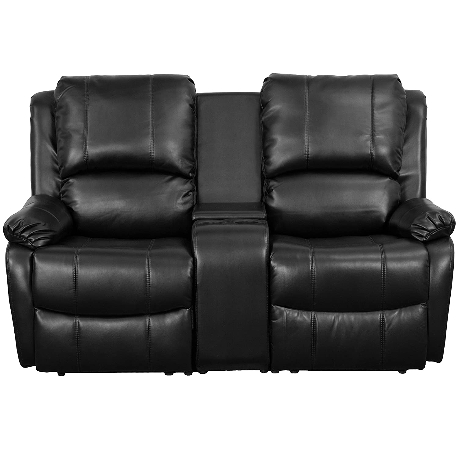 Amazon.com Flash Furniture Allure Series 2-Seat Reclining Pillow Back Black Leather Theater Seating Unit with Cup Holders Kitchen u0026 Dining  sc 1 st  Amazon.com & Amazon.com: Flash Furniture Allure Series 2-Seat Reclining Pillow ... islam-shia.org