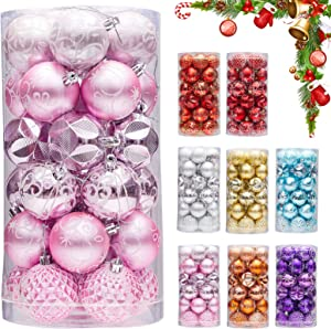 """Zhenrui 30ct 2.36"""" Christmas Ball Ornaments, Christmas Tree Decoration, Plastic Shatterproof Hanging Ball, Fits for Party, Holiday and Home Decor, Pink"""