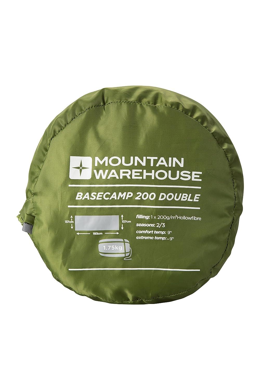 f/ácil embalar el Bolso Que acampa Mountain Warehouse Basecamp 200 Bolso Durmiente Doble colch/ón Aislado Cama Lavable de la m/áquina