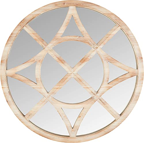 Stone Beam Vintage Compass Wooden Accent Mirror, 28 H, Light Stain