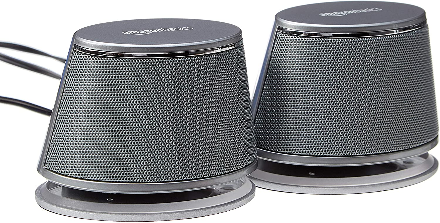 Amazon Basics USB-Powered PC Computer Speakers with Dynamic Sound  Silver