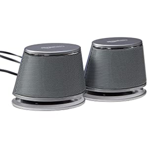 AmazonBasics USB-Powered Computer Speakers with Dynamic Sound | Silver