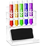 Deluxe Clear Acrylic Wall Mounted 5 Slot Whiteboard Dry Erase Marker and Eraser Organizer/Holder Rack