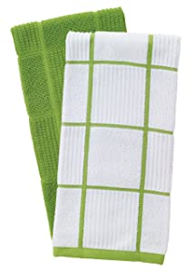 T-Fal Textiles 60937 2-Pack Solid & Check Parquet Design 100-Percent Cotton Kitchen Dish Towel, Green
