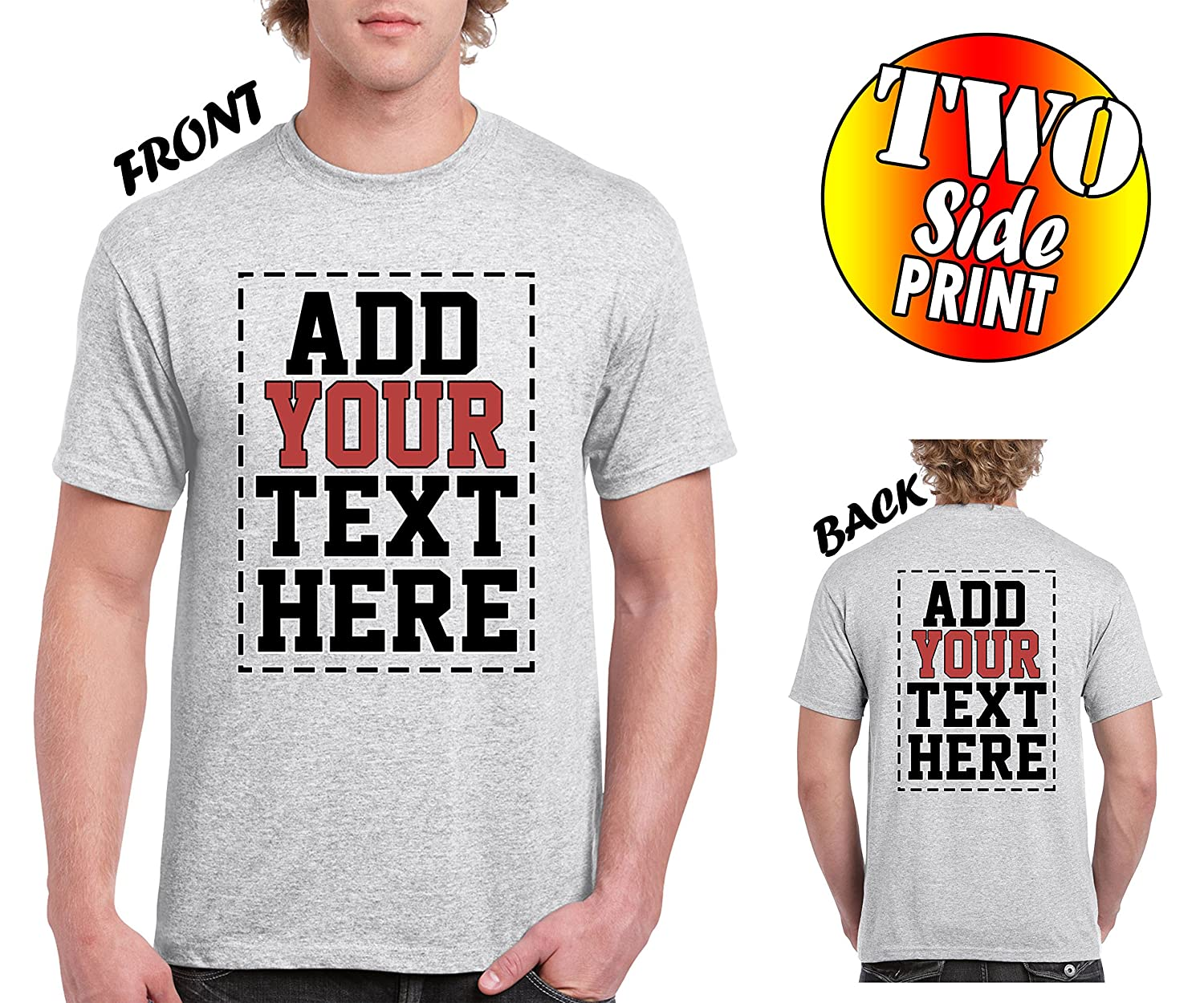 Amazon Custom 2 Sided T Shirts Design Your Own Shirt Front
