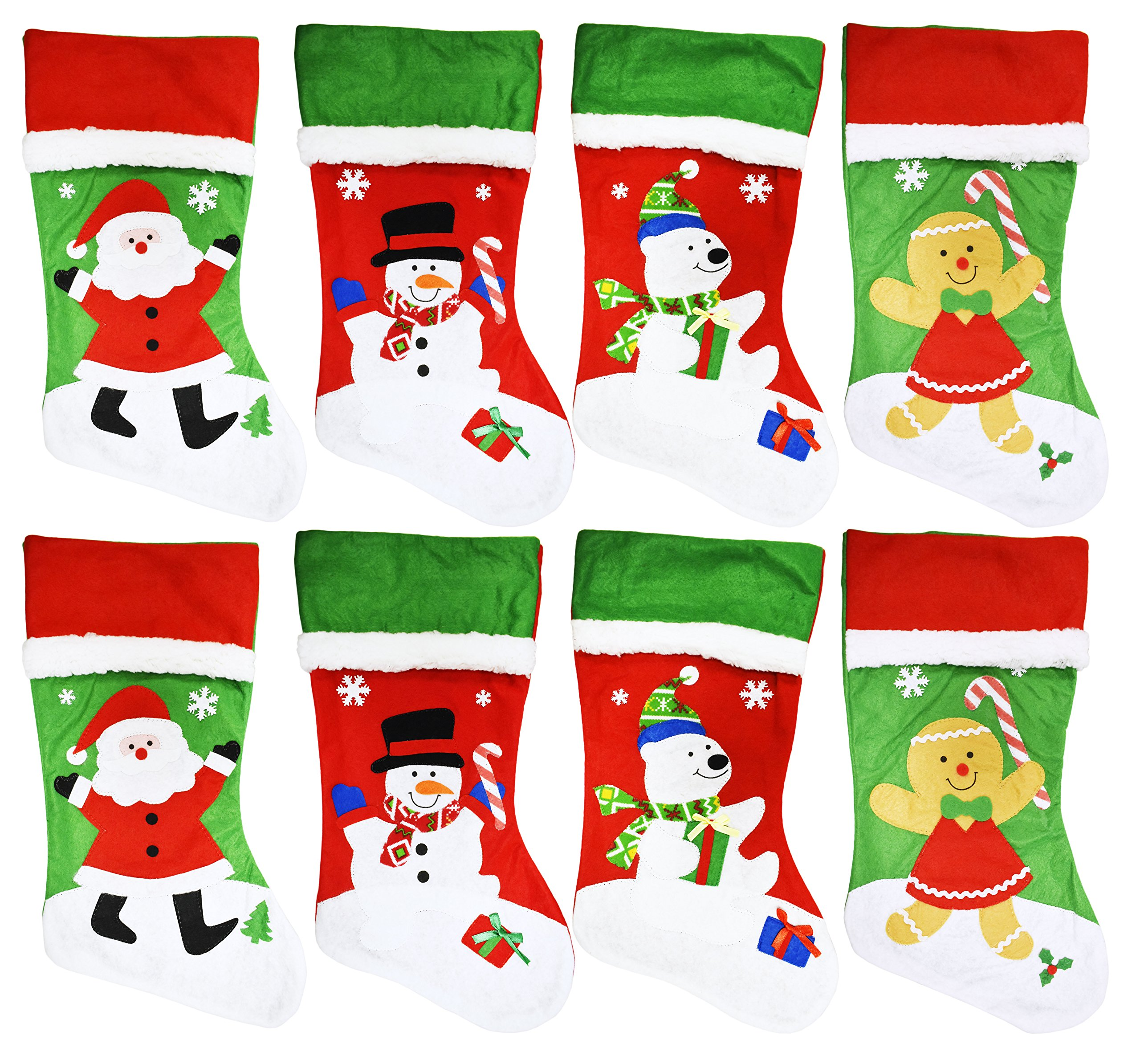 Black Duck Brand Set of 8 Christmas Holiday Embroidered Felt Stockings - 18'' - Hanging Loop - Perfect for any Family on Christmas!