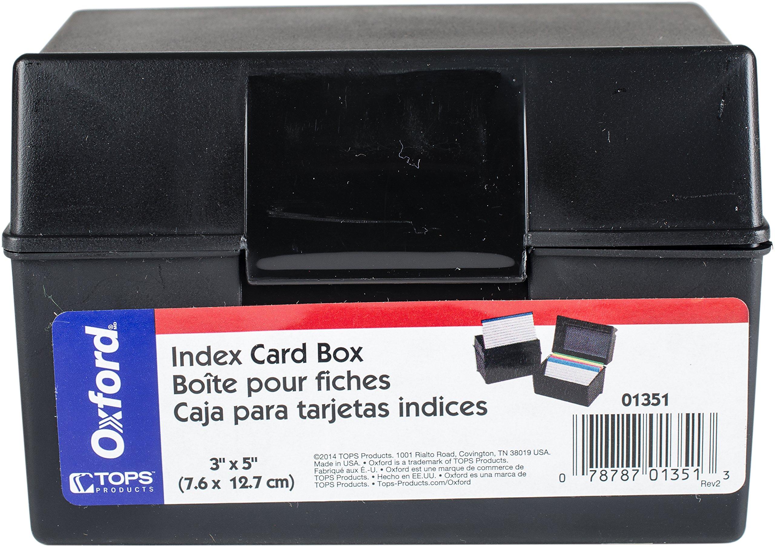 Wholesale CASE of 25 - Esselte 3x5'' Plastic Index Card Box-Index Card Box, Plastic,3''x5'', 300 Card Cap, Black
