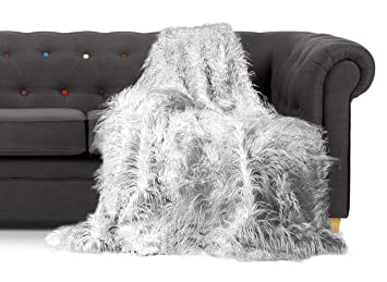 Throws Large Shaggy Long Faux Fur Throw over Sofa Bedspread ...