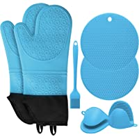 SD SENDAY Extra Long Oven Mitts and Pot Holders Sets, 15 Inches Heat Resistant Silicone Oven Mittens with Mini Oven…