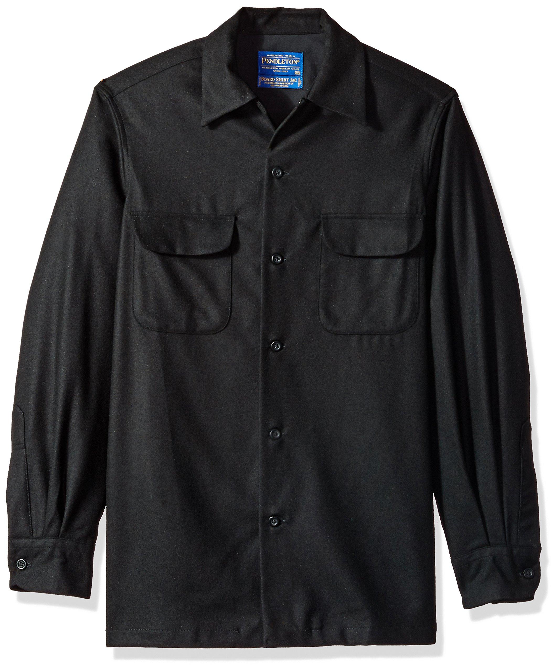 Pendleton Men's Long Sleeve Classic-Fit Board Shirt, Black Flannel-20042, LG