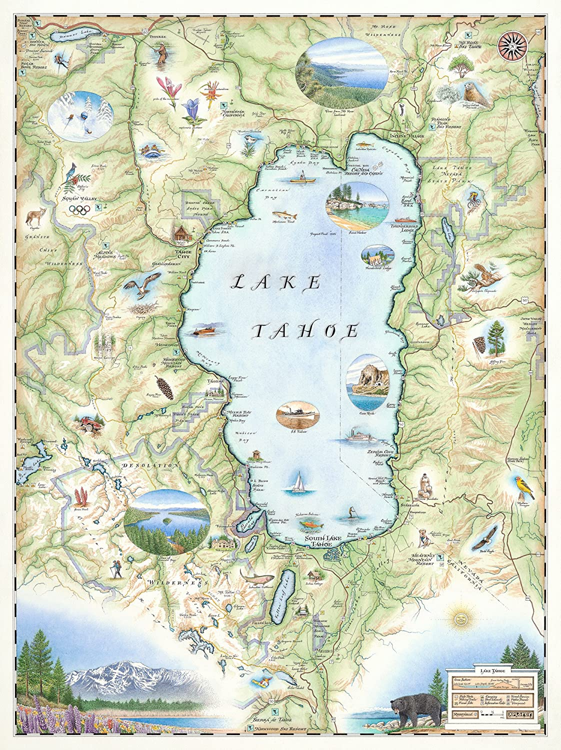 Amazon.com: Lake Tahoe Map   Map Art: Posters & Prints