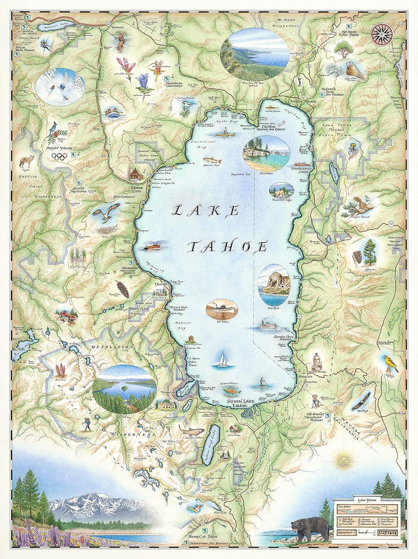 Lake Tahoe Map Amazon.com: Lake Tahoe Map   Map Art: Posters & Prints Lake Tahoe Map