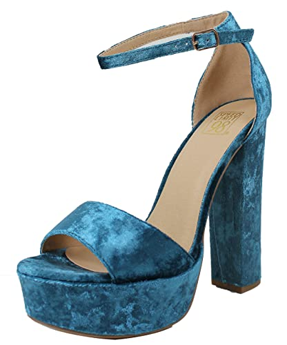 82fa6b4ee5a SpeedLimit 98 Women s Open Toe Velvet Ankle Strap Platform Chunky Block Heel  Sandal (Blue