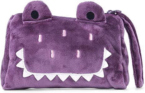 BELK suave peluche Monedero Cute Animal con cremallera cartera de viaje para pasaporte tarjeta de Crédito Smartphone correa de muñeca con cordón morado Purple Croco: Amazon.es: Bebé