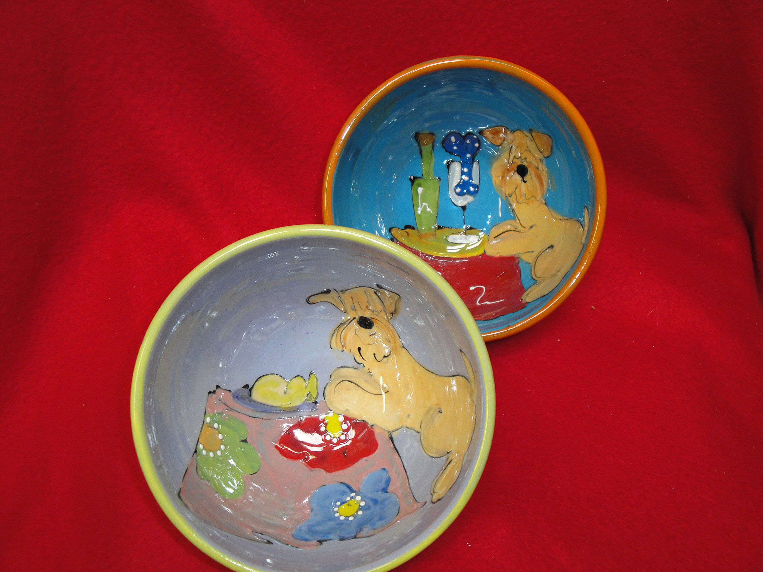 Wheaten Terrier 8'' and 6'' Pet Bowls for Food and Water. Personalized at no Charge. Signed by Artist, Debby Carman.