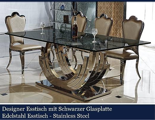 Black Stainless Steel Designer Dining Table Glass Table Glass Glossy Black Glass Table Top Amazon De Kuche Haushalt
